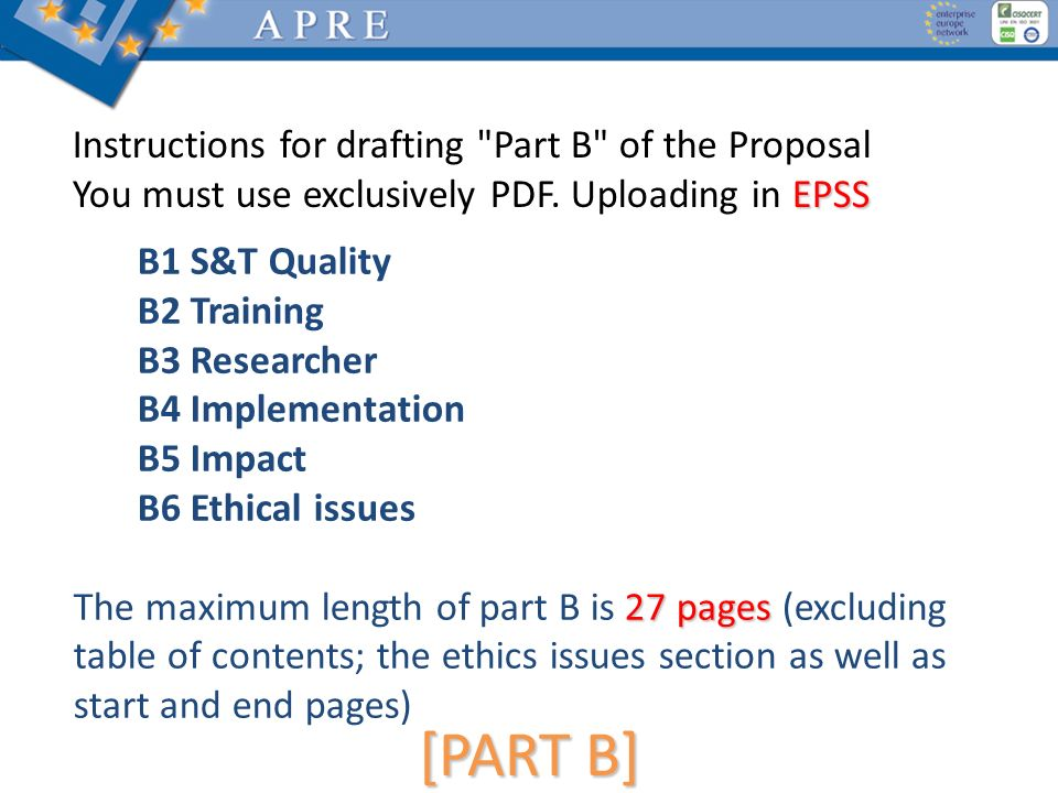 [PART B] Instructions for drafting Part B of the Proposal